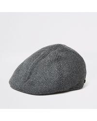 e6cbcef57 Dark Grey Herringbone Flat Cap - Gray