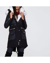 River Island Black Faux Fur Trim Parka Coat