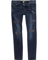 River Island - Dark Side Distressed Skinny Jeans - Lyst