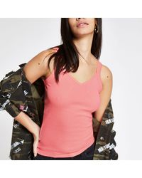 River Island Neon Pink Ribbed Vest - Multicolour