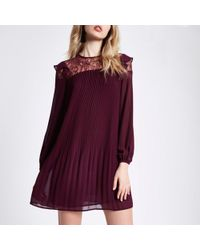 River Island | Dark Red Pleated Lace Frill Swing Dress Dark Red Pleated Lace Frill Swing Dress | Lyst
