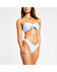 River Island Blue High Leg Bikini Bottoms