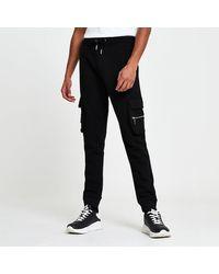 River Island Black Slim Fit Cargo sweatpants