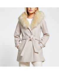 River Island Petite Beige Belted Faux Fur Hood Robe Coat - Natural