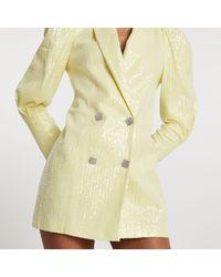 River Island Yellow Sequin Puff Sleeve Blazer Dress