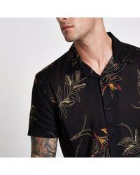 River Island - Bellfield Black Floral Print Shirt - Lyst