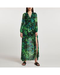 River Island Long Sleeve Tropical Print Maxi Dress - Green