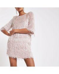River Island - Light Sequin Fringe Swing Dress - Lyst