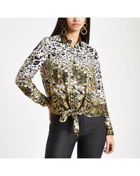 River Island - Mixed Print Tie Front Shirt - Lyst