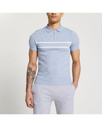 River Island Blue Ri Monogram Muscle Fit Polo Shirt