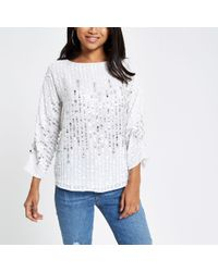 River Island Petite White Sequin Embellished Top
