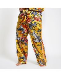 River Island - Plus Yellow Jacquard Floral Pyjama Trousers - Lyst
