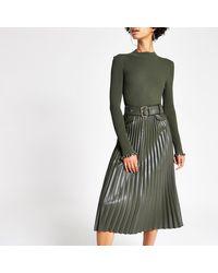River Island Pleated Faux Leather Midi Skirt - Multicolor