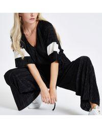 River Island - Petite Black Plisse Kimono Sleeve Jumpsuit - Lyst