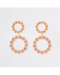 River Island - Rose Gold Colour Diamante Drop Earrings - Lyst