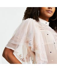 River Island Cream Short Sleeve Frill Lace Top - Multicolor