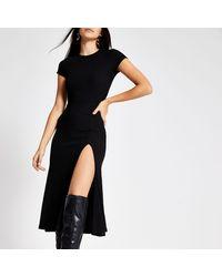 River Island Black A Line Short Sleeve Midi Dress