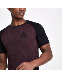 River Island - Red Concept Muscle Fit Ribbed T-shirt Red Concept Muscle Fit Ribbed T-shirt - Lyst