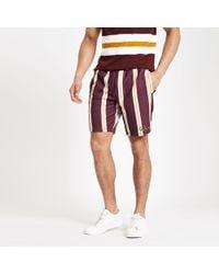 River Island - Dark Red Slim Fit Stripe Print Shorts - Lyst