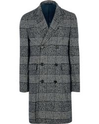 River Island Gray Check Double Breasted Smart Coat