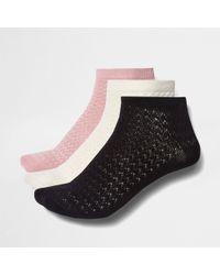 River Island - Dark Pink Textured Socks Multipack - Lyst