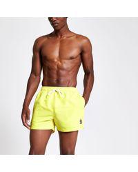 River Island Neon Yellow Ri Crest Short Swim Shorts