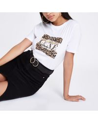 River Island - White 'luxe' Leopard Print T-shirt - Lyst