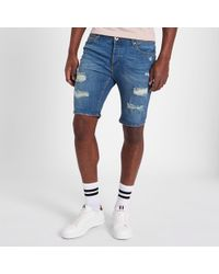 a4a19082c5 Lyst - River Island Big And Tall Light Blue Ripped Denim Shorts in ...