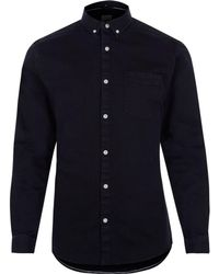 River Island - Black Muscle Fit Button-down Denim Shirt Black Muscle Fit Button-down Denim Shirt - Lyst