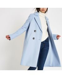 River Island - Knit Double Breasted Coat - Lyst