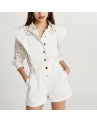 River Island Broderie Button Down Playsuit - White