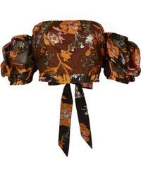 River Island - Orange Floral Puff Sleeve Bardot Crop Top - Lyst