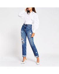 River Island Blue Carrie High Rise Ripped Mom Jean