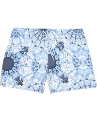 River Island Big And Tall Blue Tie Dye Printed Swim Shorts