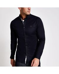 River Island Navy Muscle Fit Long Sleeve Oxford Shirt - Blue