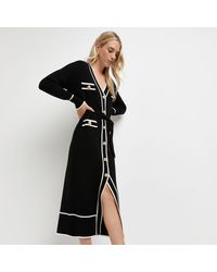 River Island Black Belted Knitted Shirt Dress