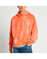 River Island Orange Tie Dye Graphic Print Oversized Hoodie - Pink