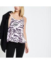 River Island - Pink zebra print peplum cami top - Lyst
