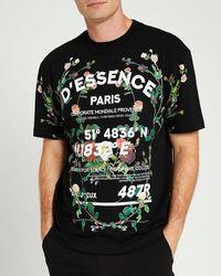 River Island Black Regular Fit Floral Graphic T-shirt