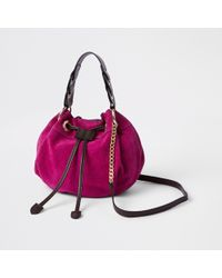 River Island Pink Suede Mini Duffle Cross Body Bag