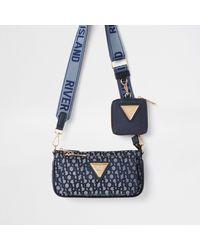 River Island Navy Pouchette Ri Monogram Cross Body Handbag - Blue