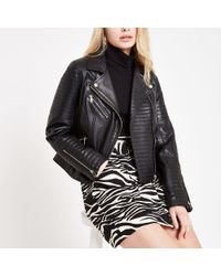 River Island - Leather Fitted Biker Jacket - Lyst