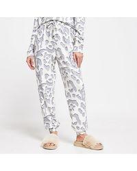 River Island Cream Leopard Print Pajama Bottoms - Natural