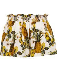 River Island | Yellow Pineapple Print Beach Shorts Yellow Pineapple Print Beach Shorts | Lyst