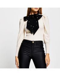 River Island Cream Long Sleeve Embellished Bow Top - Multicolour