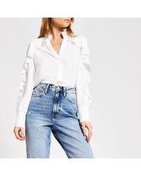 River Island Embellished Collar Frill Shirt - White