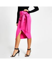 River Island Pink Wrap Front Midi Pencil Skirt
