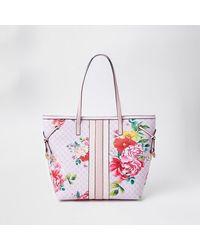 River Island Pink Floral Ri Monogram Shopper Bag