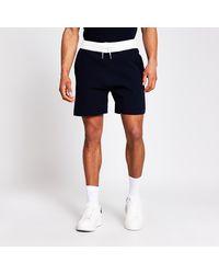 River Island Navy Knit Elasticated Contrast Waist Shorts - Blue