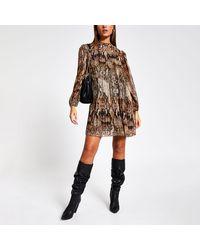 River Island Snake Printed Pleated Swing Dress - Brown